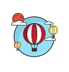Hot air balloon in sky flat design vector