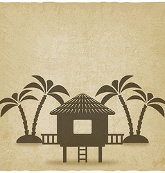 Bungalow with palm trees old background vector