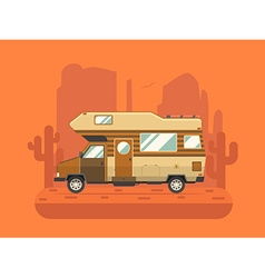 Camper trailer on desert national park area vector