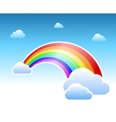 Abstract rainbow and clouds symbol vector image vector image