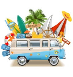 Beach Concept with Bus vector image