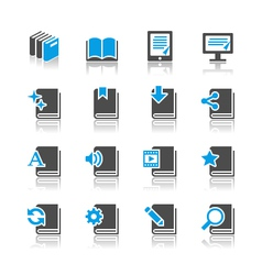 Book icons reflection vector image vector image