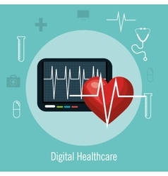 digital healthcare cardio heart rate vector image