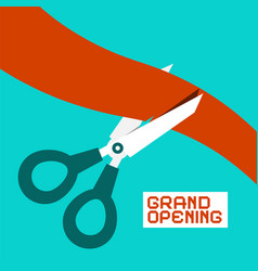 Grand opening scissors cutting ribbon retro flat vector