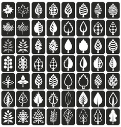 icons tree leaves on black vector image vector image