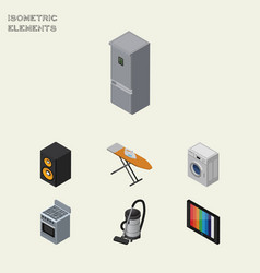 Isometric device set of stove music box vac and vector