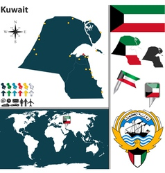 Kuwait map world vector