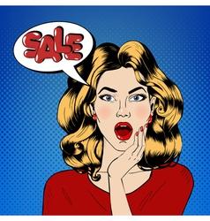 Pop art style sale banner vintage girl shouts sale vector