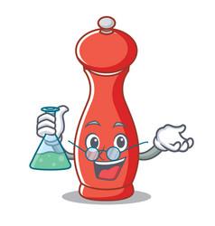 Professor pepper mill character cartoon vector