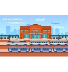 Railway station flat background vector