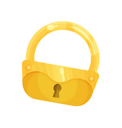 retro golden old padlock vector image