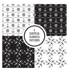 Seamless nautical patterns set vector image