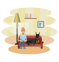 Senior man with dog vector