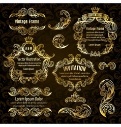 Set gold frame and vintage design elements vector