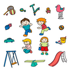 Sketch colored children entertainments set vector