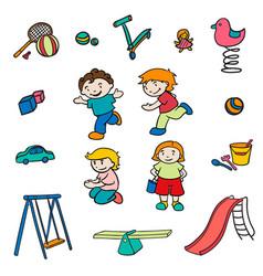 Sketch colored children entertainments set vector