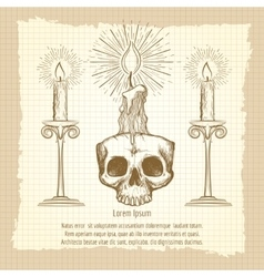 Skull and candles on vintage page vector