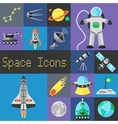 Space Icons Flat vector image