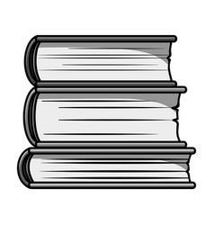 Stack of books icon in monochrome style isolated vector