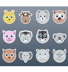Stickers animals vector image