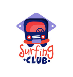 Surfing club logo windsurfing retro badge with vector