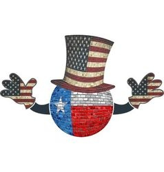 Texas ball with american hat and hands vector