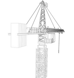 tower construction crane rendering of 3d vector image vector image