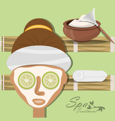 Woman with natural mask and herbal medicine vector