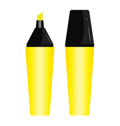 Yellow pen highlighter design set isolated on vector