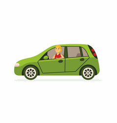 Young woman in a car - cartoon people character vector