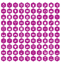 100 online shopping icons hexagon violet vector image
