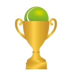 Tennis ball trophy icon vector