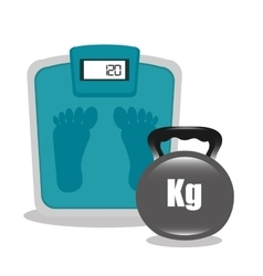 Cartoon bathroom scale dumbbell elements design vector