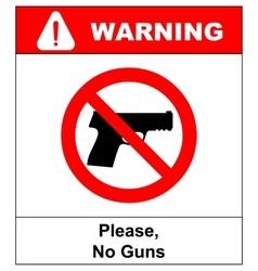 Prohibiting sign for gun No gun sign vector image