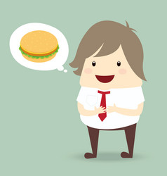 Fat businessman is thinking want to eat burger vector