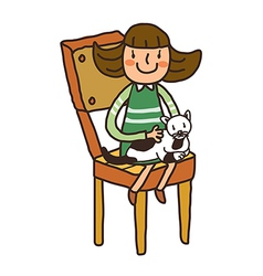 Girl sitting cat vector