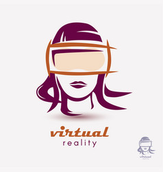 Womans head in vr glasses icon stylized logo vector