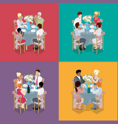 Family party celebration isometric vector