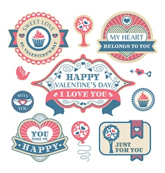Abstract valentines day decorative labels vector