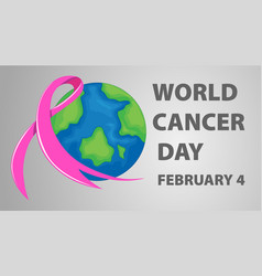 World cancer day poster with pink ribbon vector