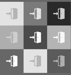 Door exit sign grayscale version of vector