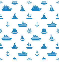 Seamless pattern with blue sea transport icons vector