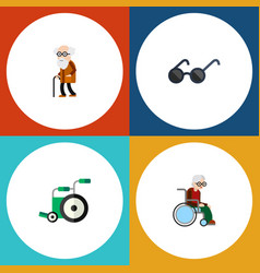 Flat icon handicapped set of ancestor wheelchair vector