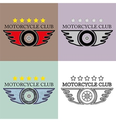 Vintage and retro motorcycle club logo set vector
