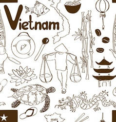 Sketch vietnam seamless pattern vector