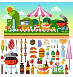 Picnic summer time vector