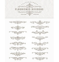 Set of flourishes dividers vector