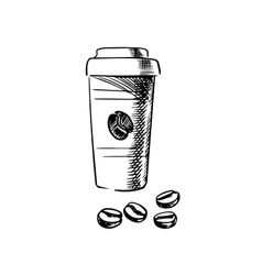 Takeaway coffee cup with beans vector