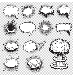 Set of comics speech and explosion bubbles vector