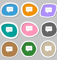 Speech bubbles symbols multicolored paper stickers vector